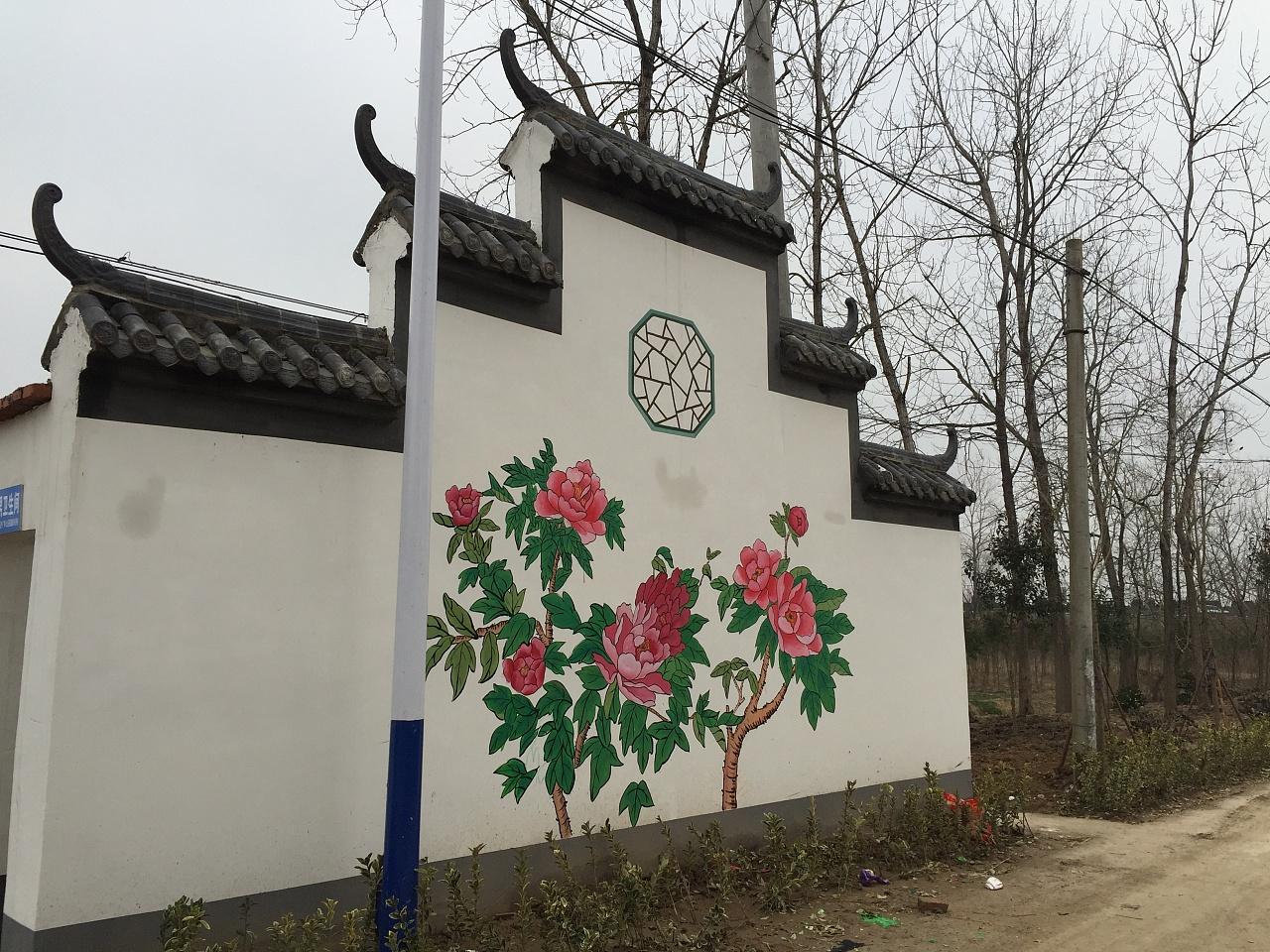 徽墙绘素材 新农村墙画设计 美丽乡村 围墙彩绘作品