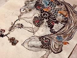 原创作品《浮世绘纹身肥蛤蟆》