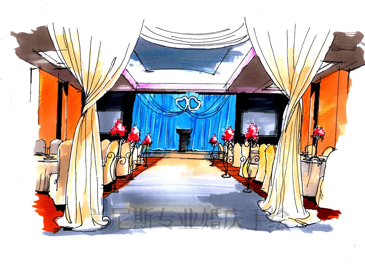 高端婚礼手绘效果图