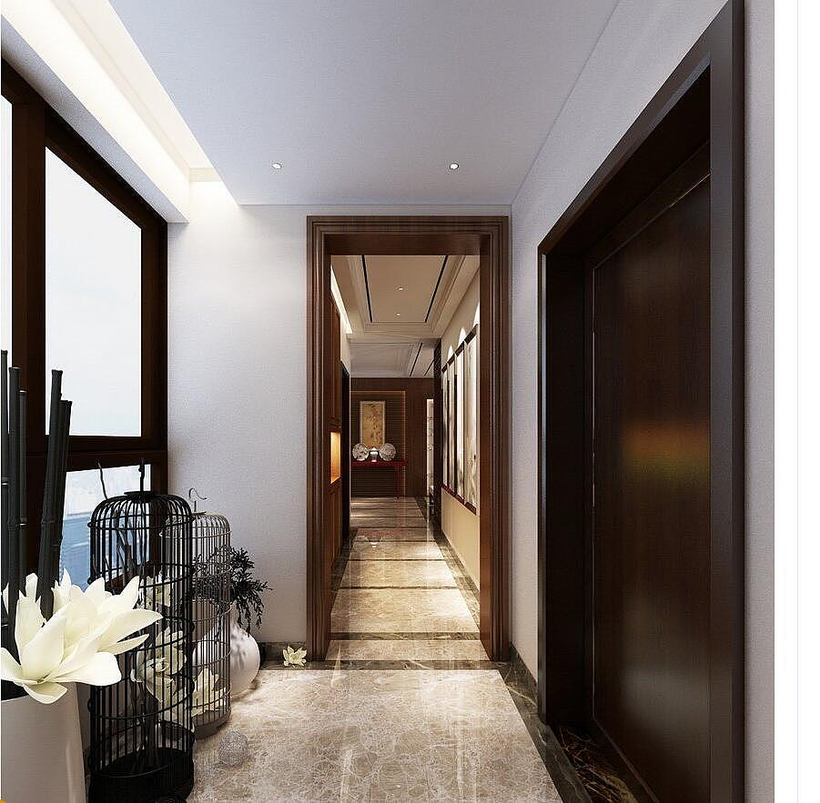 龙湖玖号院130平新中式风格三室两厅装修需要多少钱图片
