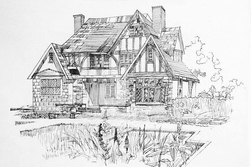 景观建筑类手绘临摹,纯粹的黑白世界