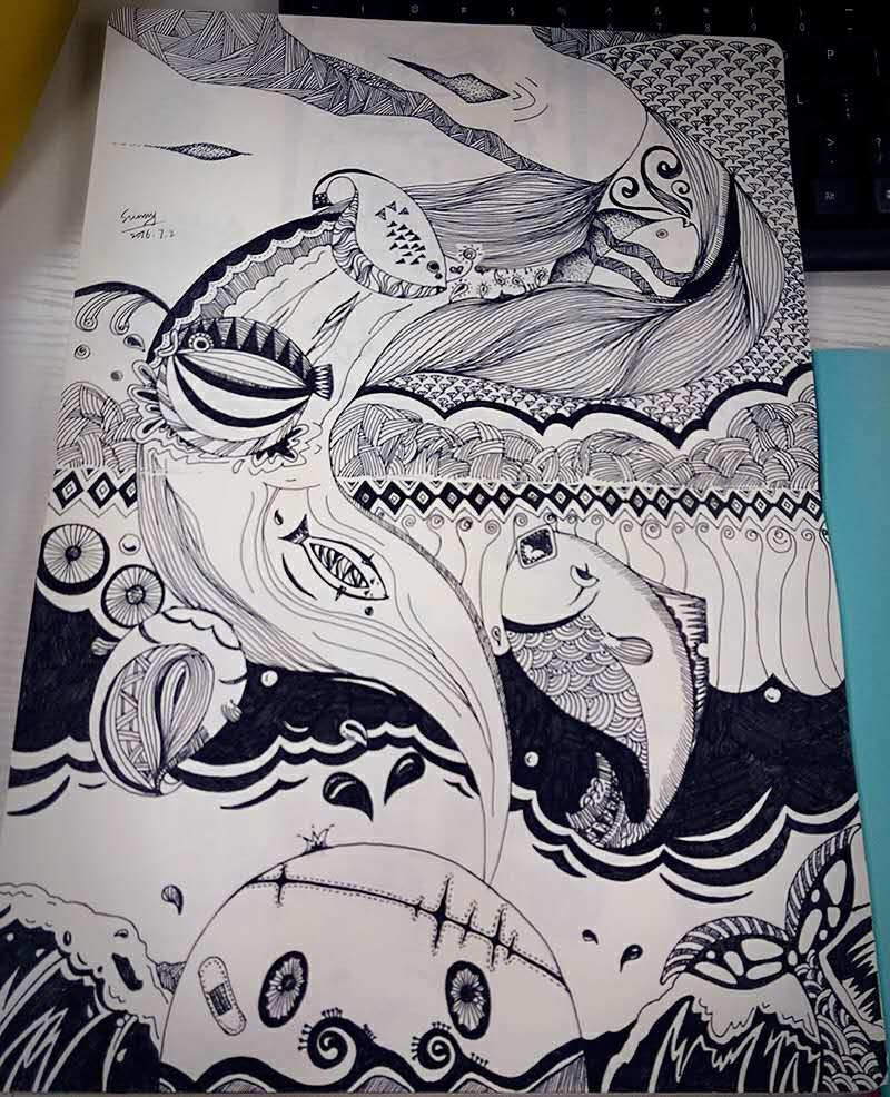 查看《黑白手绘插画》原图,原图尺寸:800x986