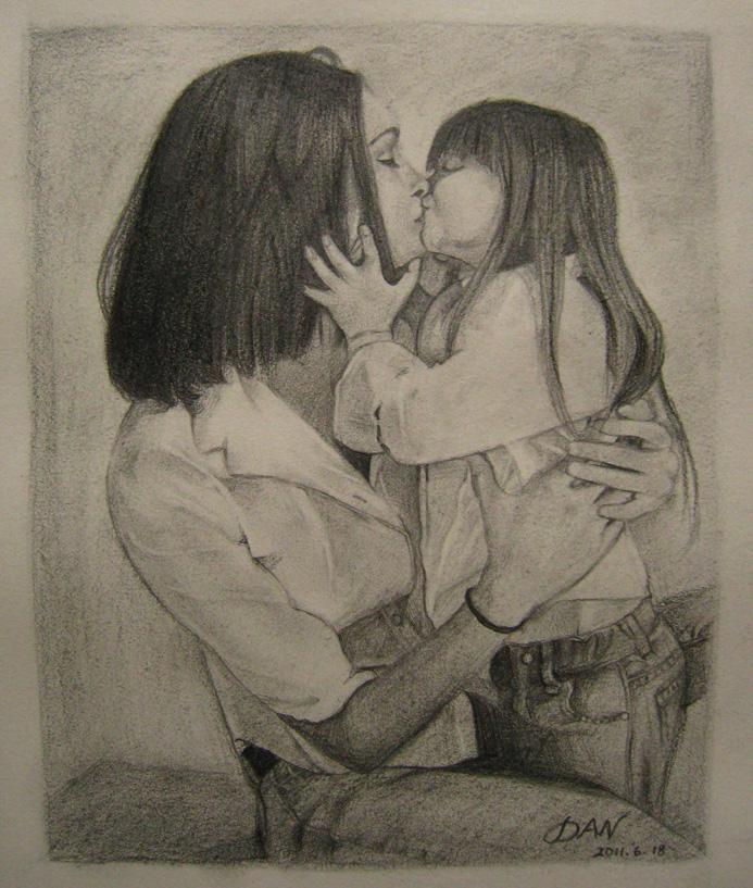 吻(铅笔画)