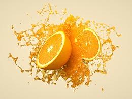 怎么用c4d做超真实的橙汁效果?