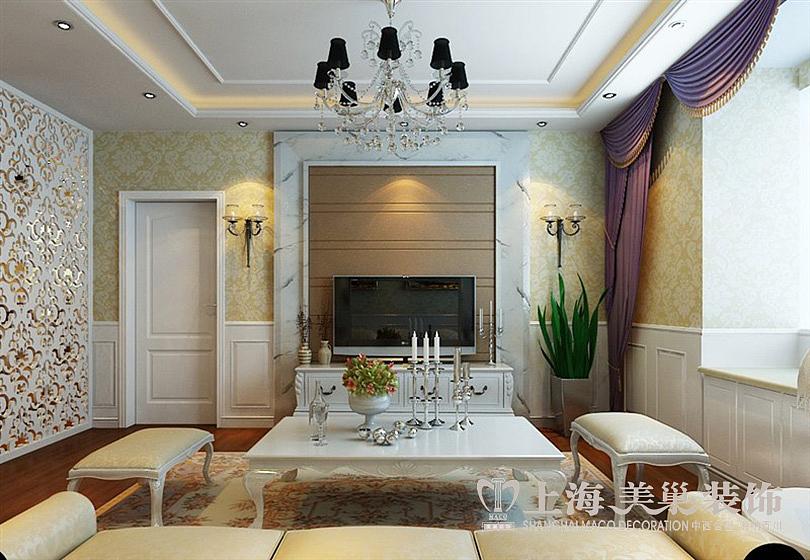 龙熙湖畔92平两室两厅简欧风格装修——电视背景墙