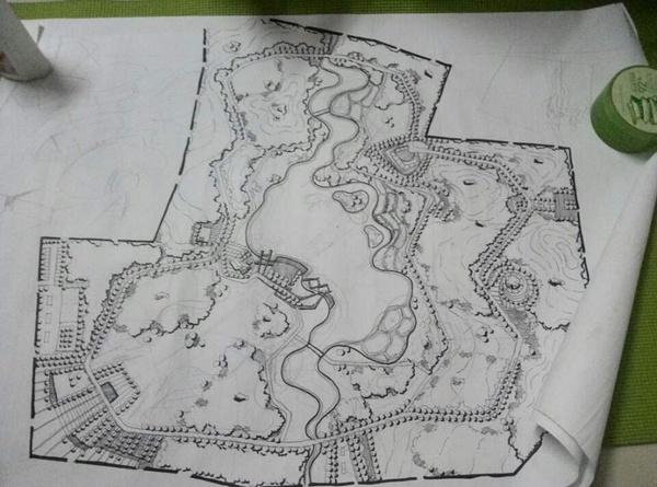 手绘公园平面设计图