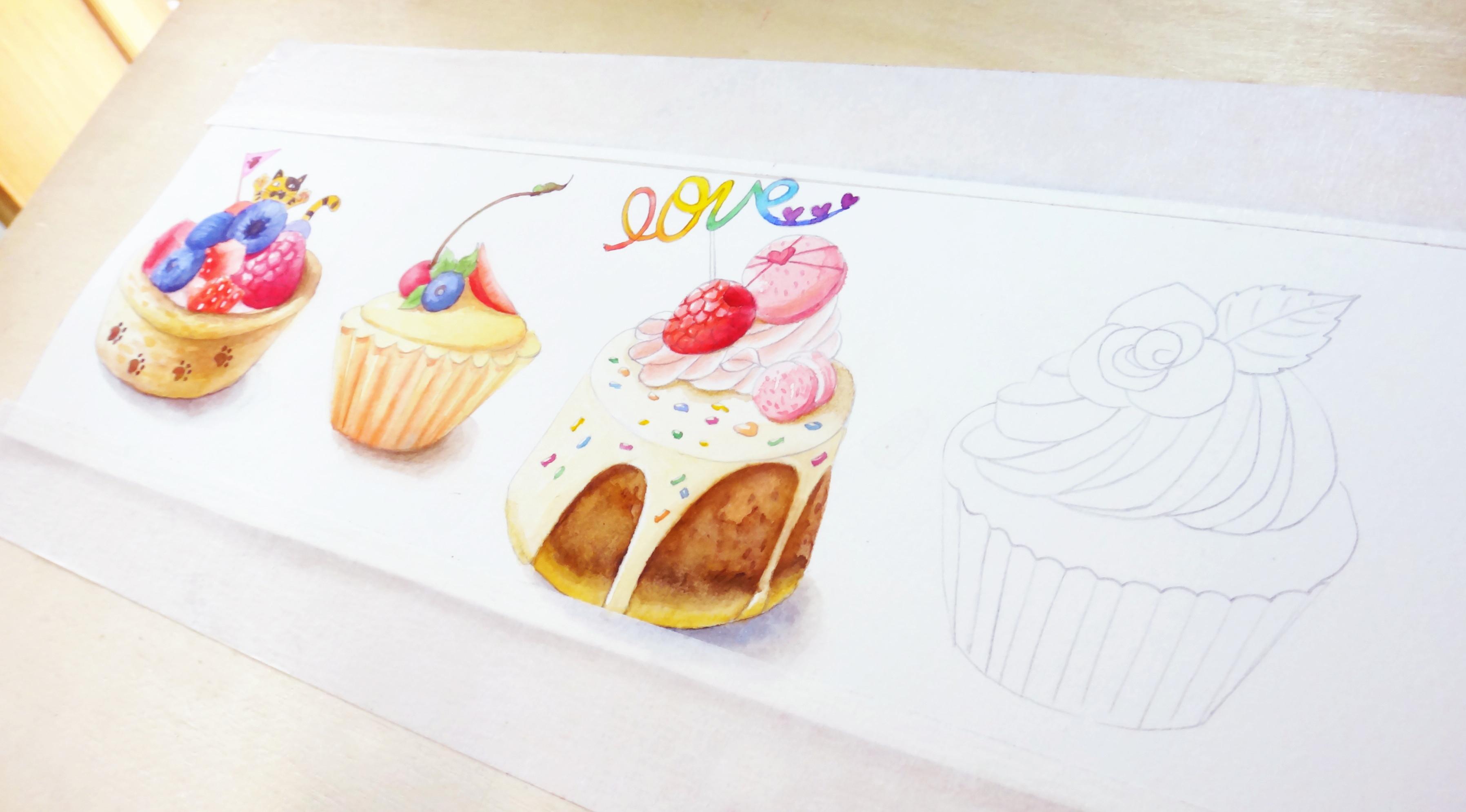 手绘水彩美食