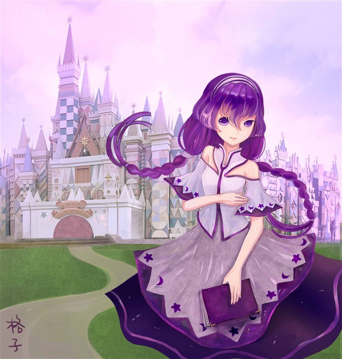 紫色古装手绘美女