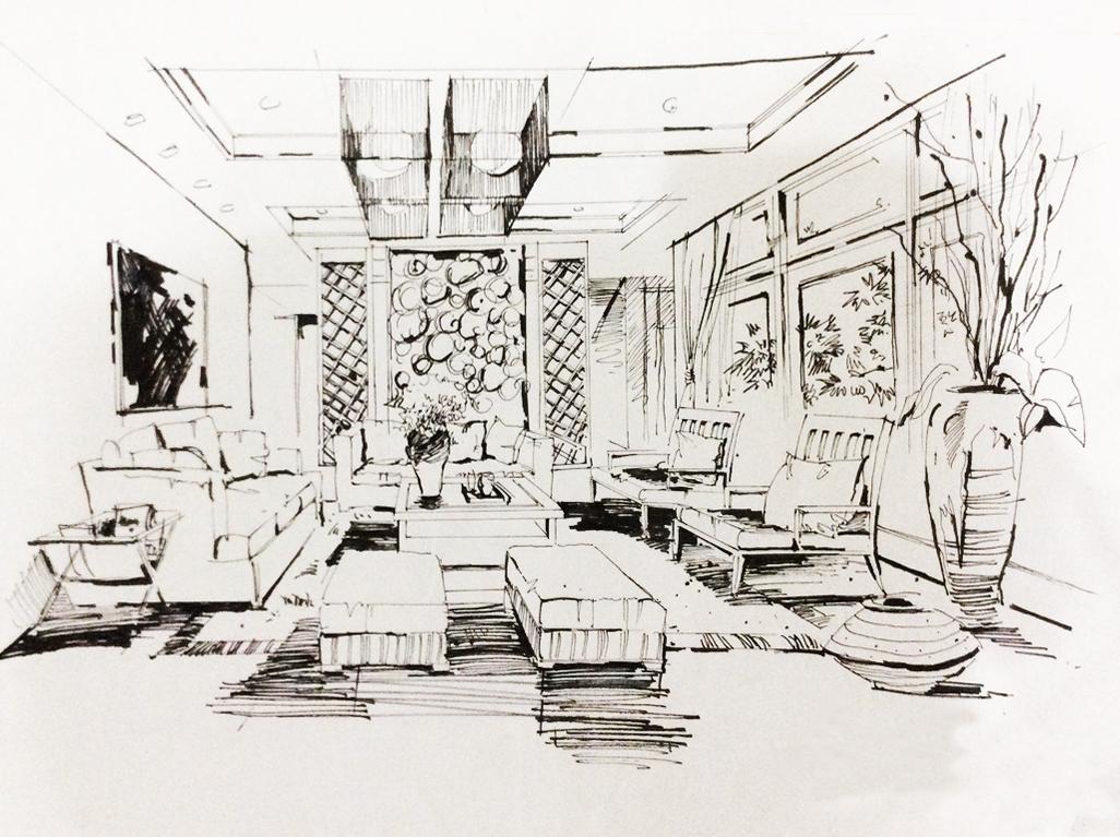 建筑,园林,室内钢笔线稿作品图片