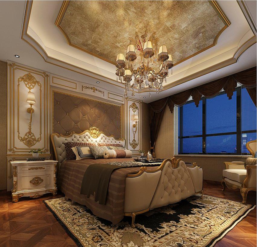恒升1号庄园160平欧式风格三室两厅装修样板间图片