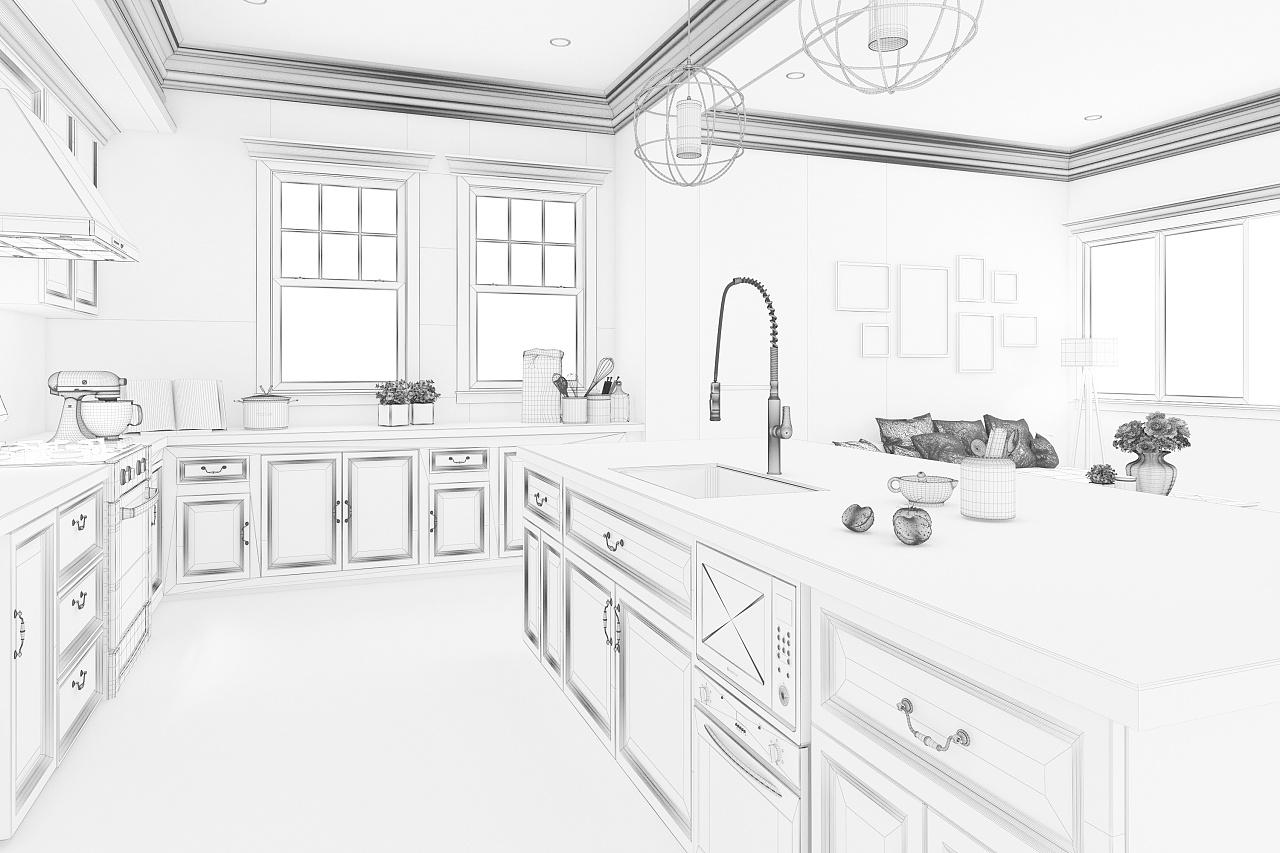 手绘厨房单体线稿