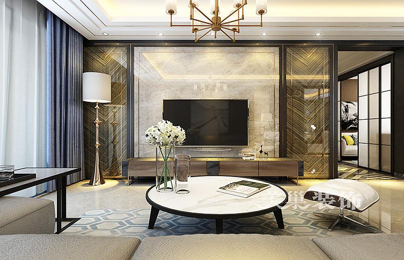 郑州公园道一号140平现代轻奢三居室装修效果图欣赏---电视背景墙