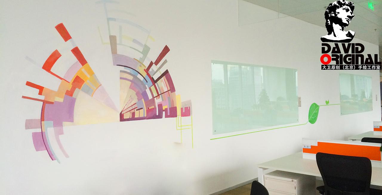 大卫原创(北京)手绘工作室携手阿里巴巴集团绘制公司办公室墙绘 项目