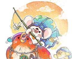 水彩插画-贝贝和吉吉探险记,旅途出发!