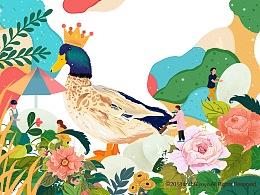 麻鸭蛋包装插画