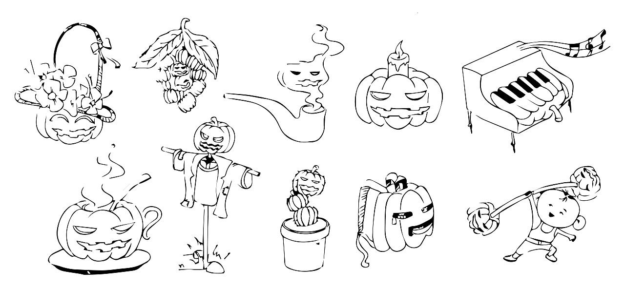 1-4幅:平面图形创意,统一选取南瓜为图形元素进行创作练习 5-8幅