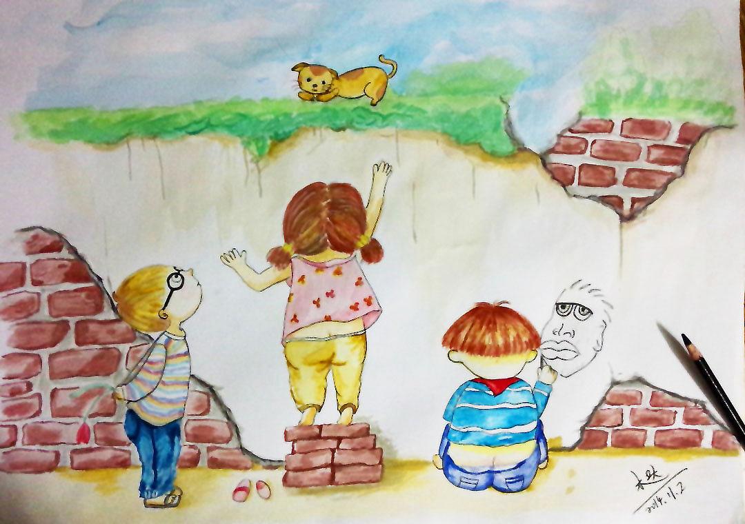 水彩画_ 童年