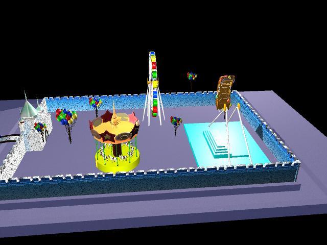游乐场场景-maya三维建模毕业作品|三维动画|动漫