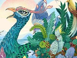 孔雀与植物