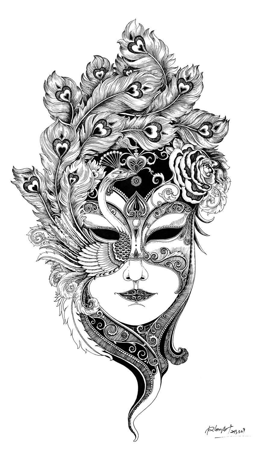 女人-面具 (插画作品)|其他绘画|插画|rlon
