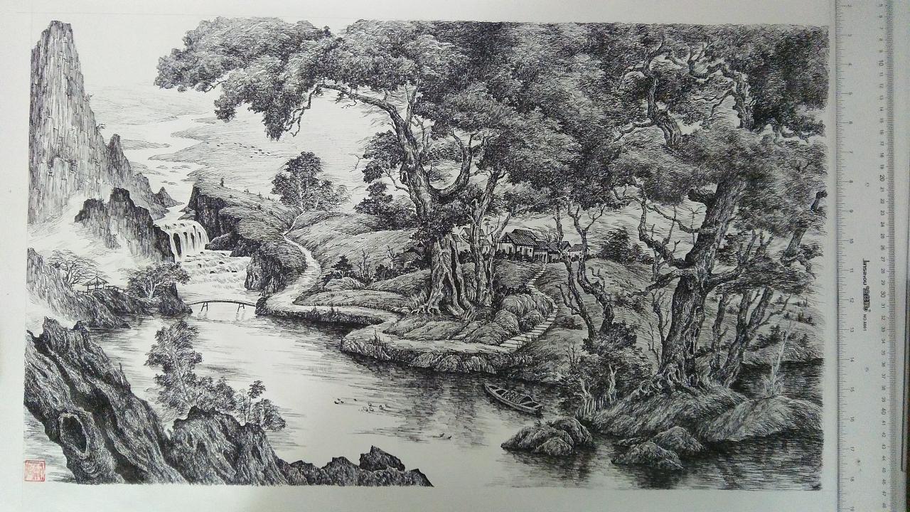 钢笔画风景