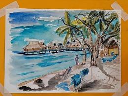 水彩画海岛上的木屋-小尤说画