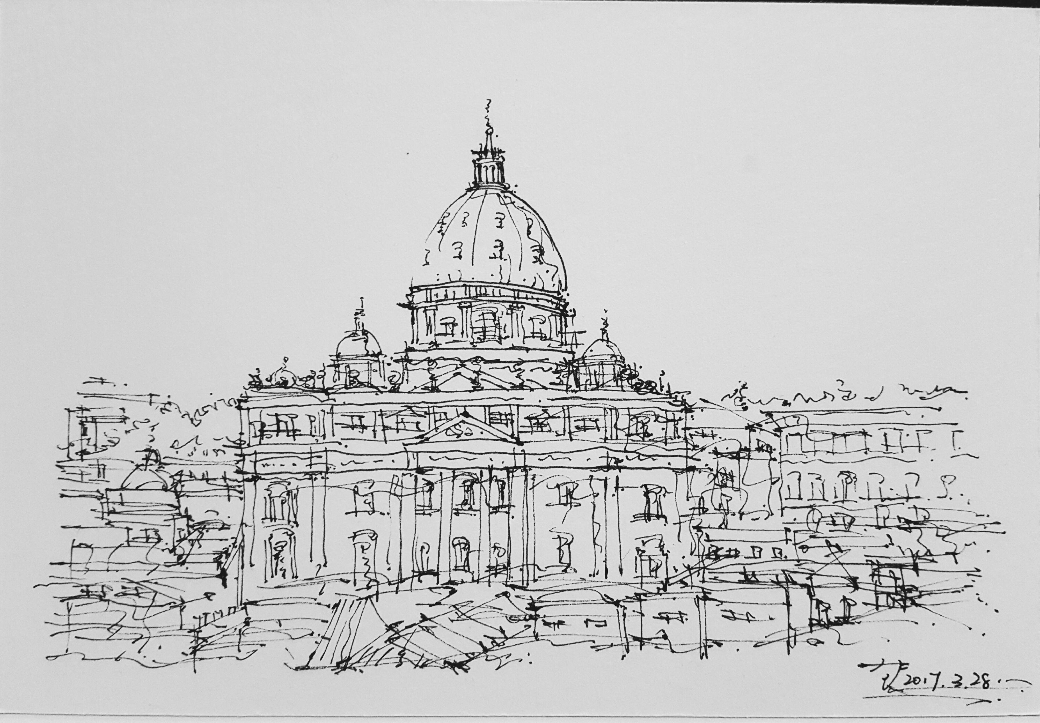 近日练习 钢笔建筑手绘 原创 20170329|纯艺术|钢笔画