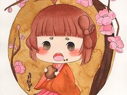 古风水彩 吃饼的小女孩
