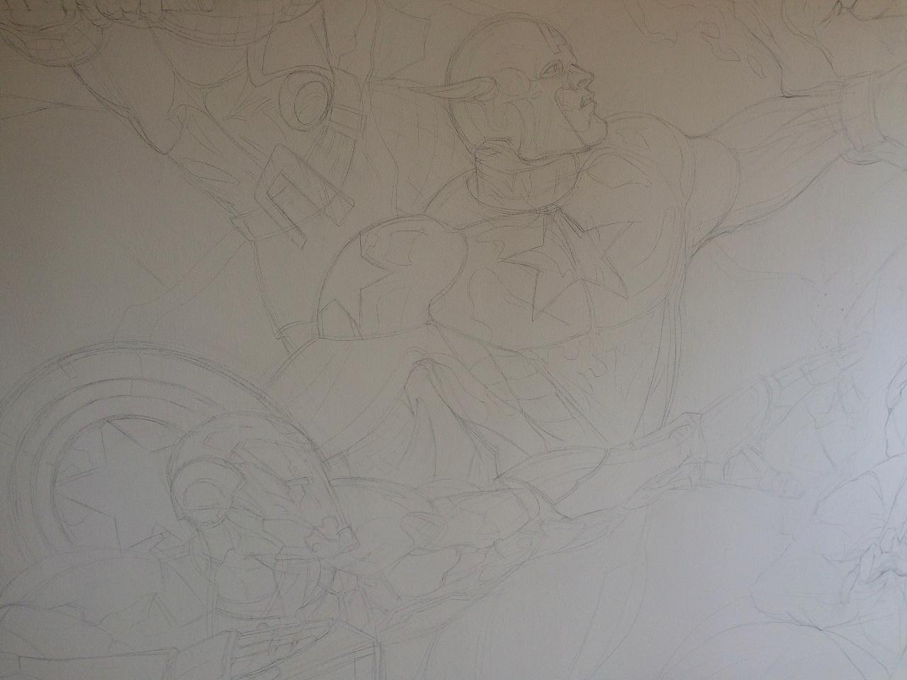健身房墙绘复仇者联盟系列