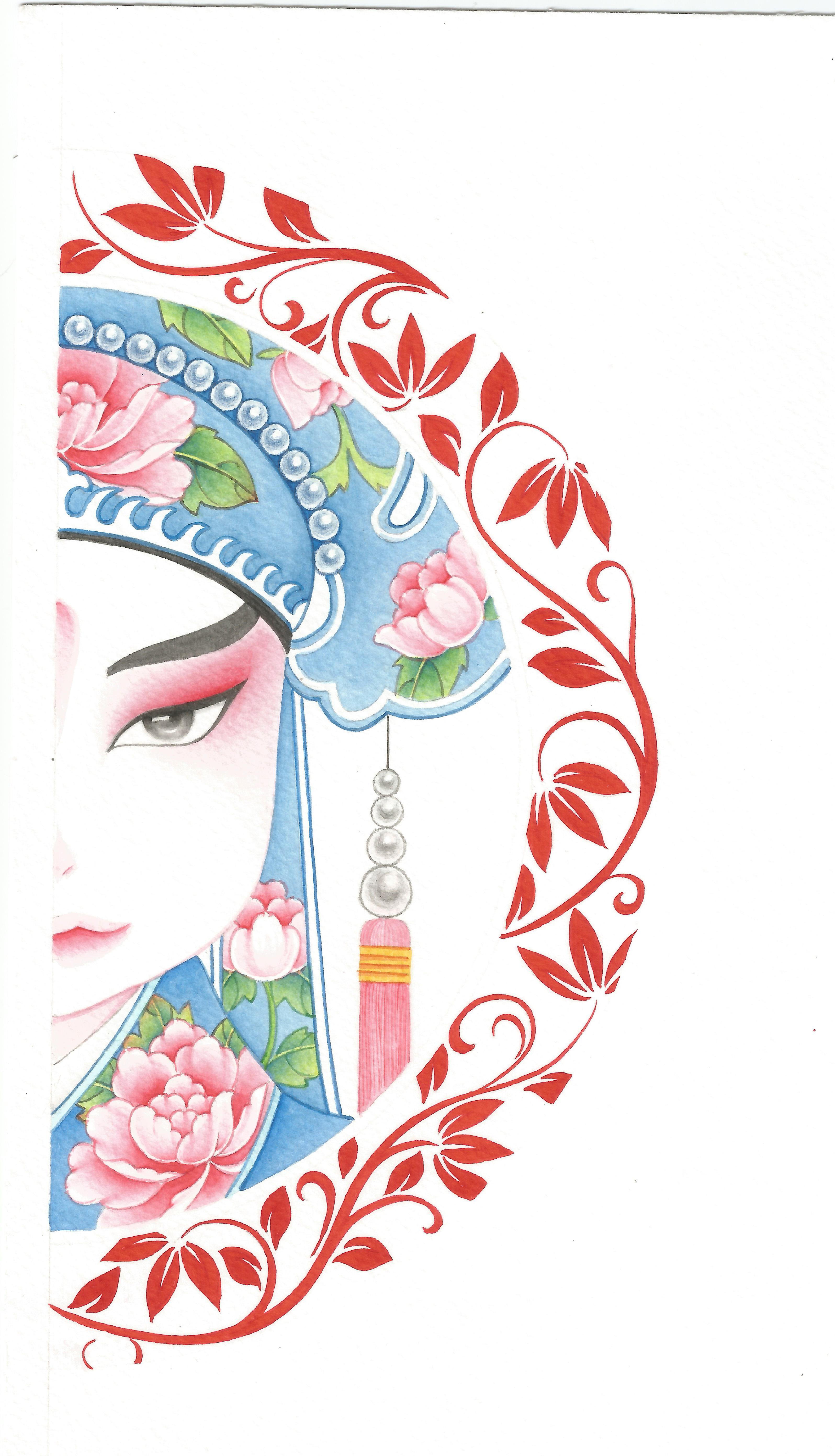 动漫手绘黑白京剧侧脸