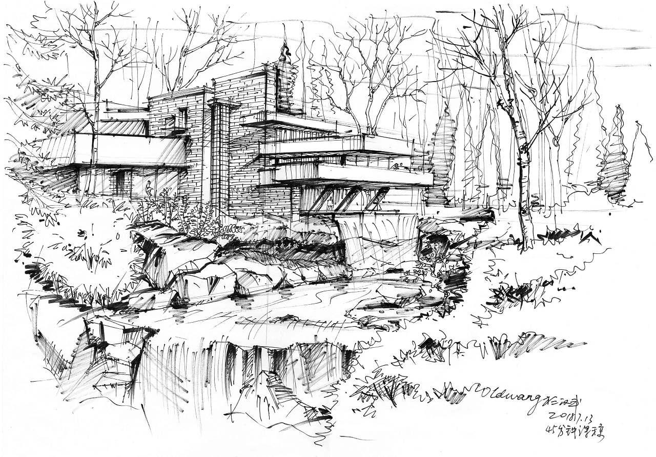 建筑,景观手绘课堂示范作品:流水别墅钢笔线稿,民宿人客栈泳池别墅