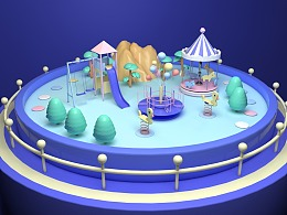 C4D-梦中的游乐园