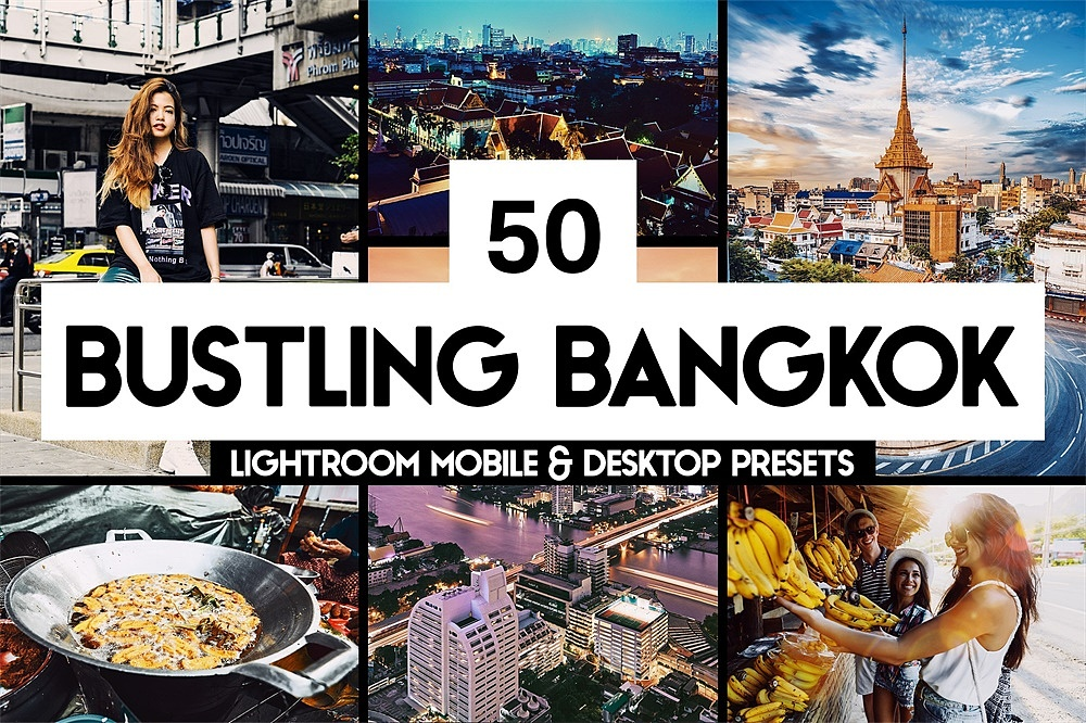 【P180】泰国曼谷旅拍胶片LR预设+LUT预设 sparklestock 50 Bustling Bangkok Lightroom Presets and LUTs