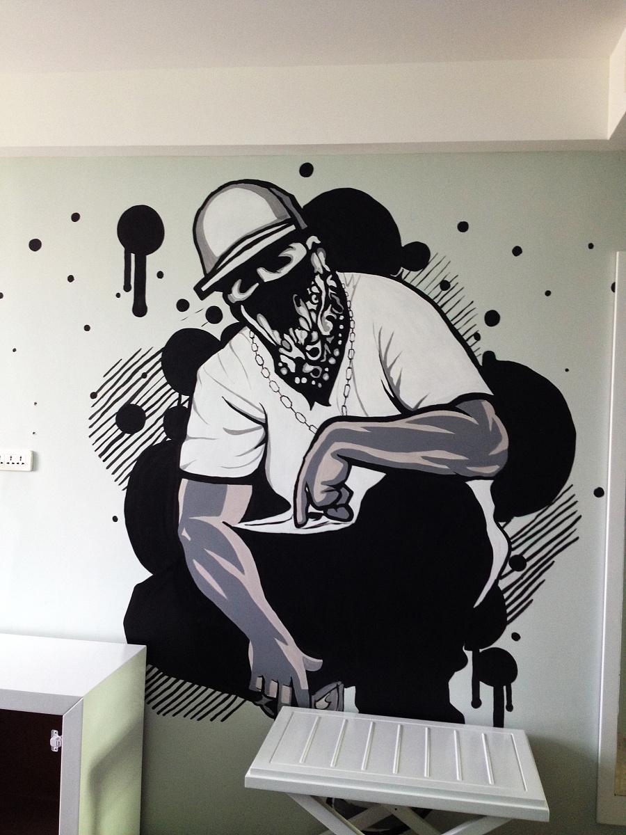 手绘墙画|涂鸦/潮流|插画|荔枝很忙