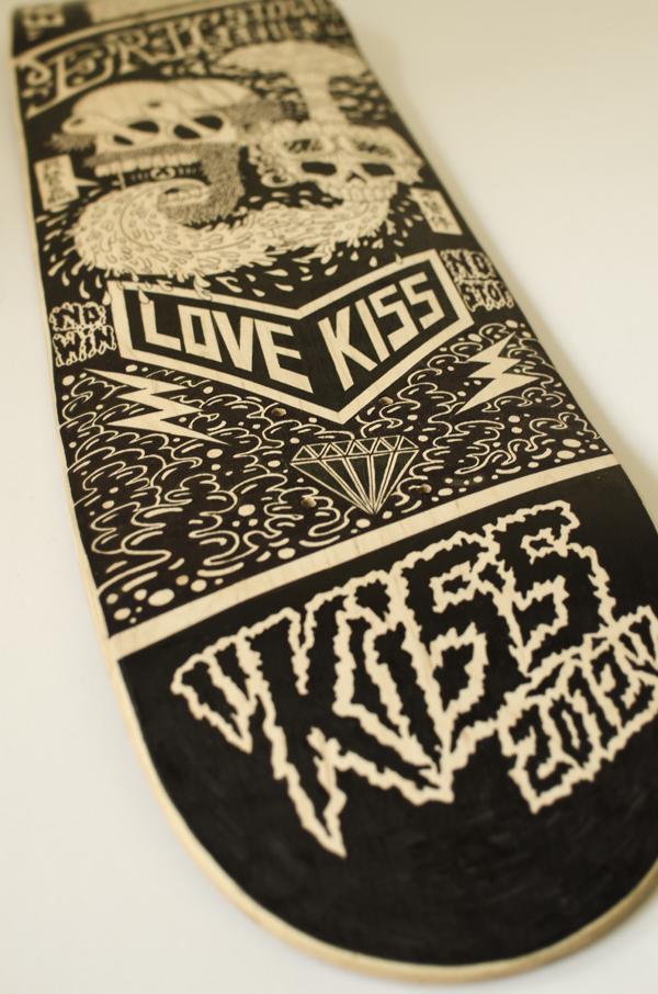 查看《纯手绘滑板插画-LOVEKISS》原图,原图尺寸:600x906