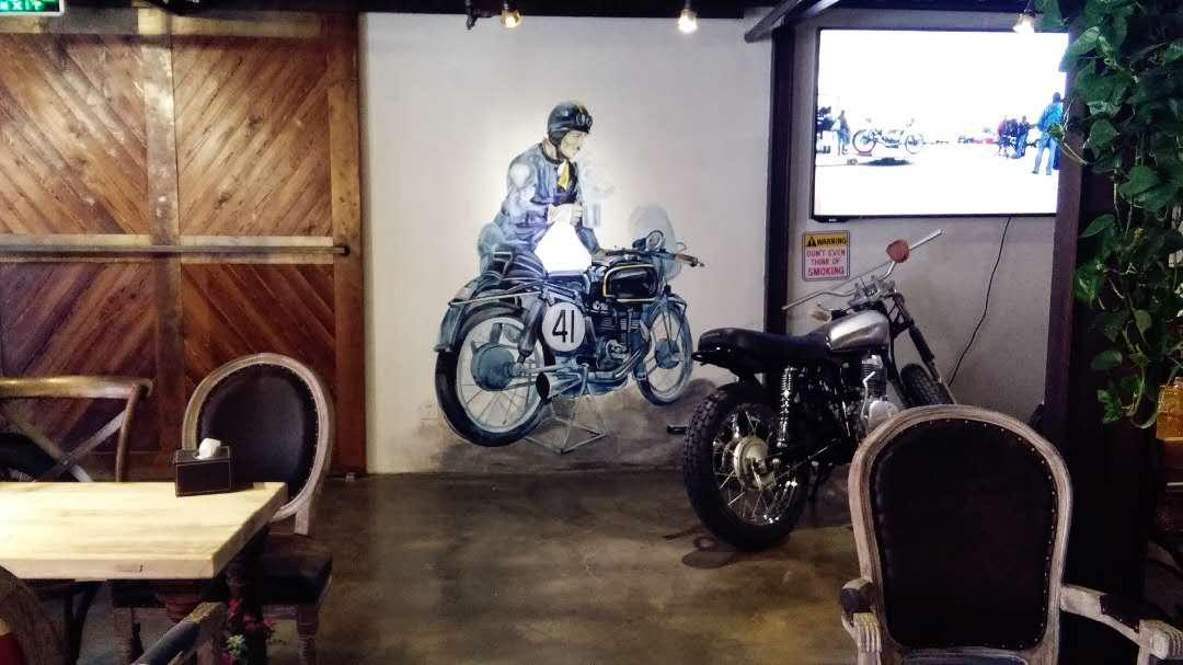 复古机车咖啡厅墙绘图片