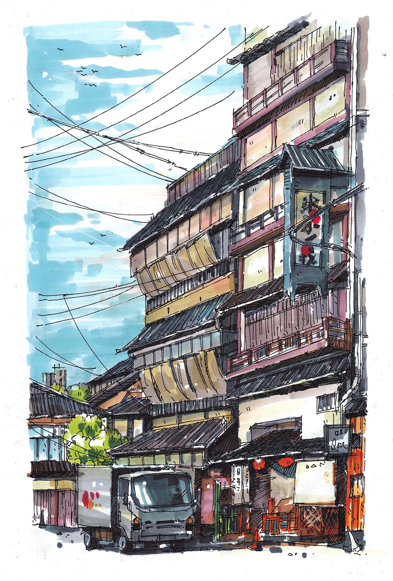 马克笔风景手绘---日本街景|插画|商业插画|谭泽鸿