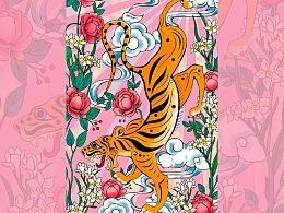 豫游纪原创古代瑞兽系列《虎嗅蔷薇》