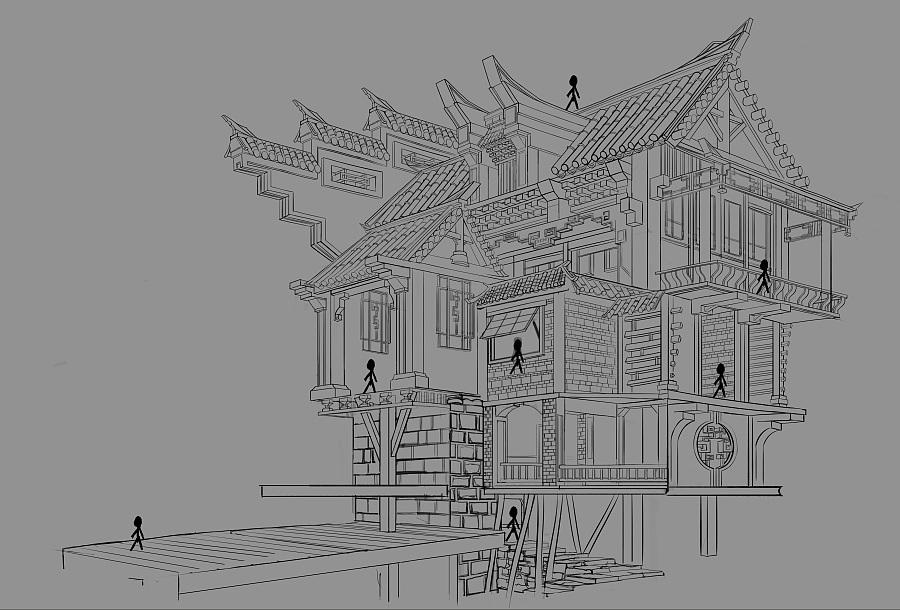 原创作品:建筑线稿