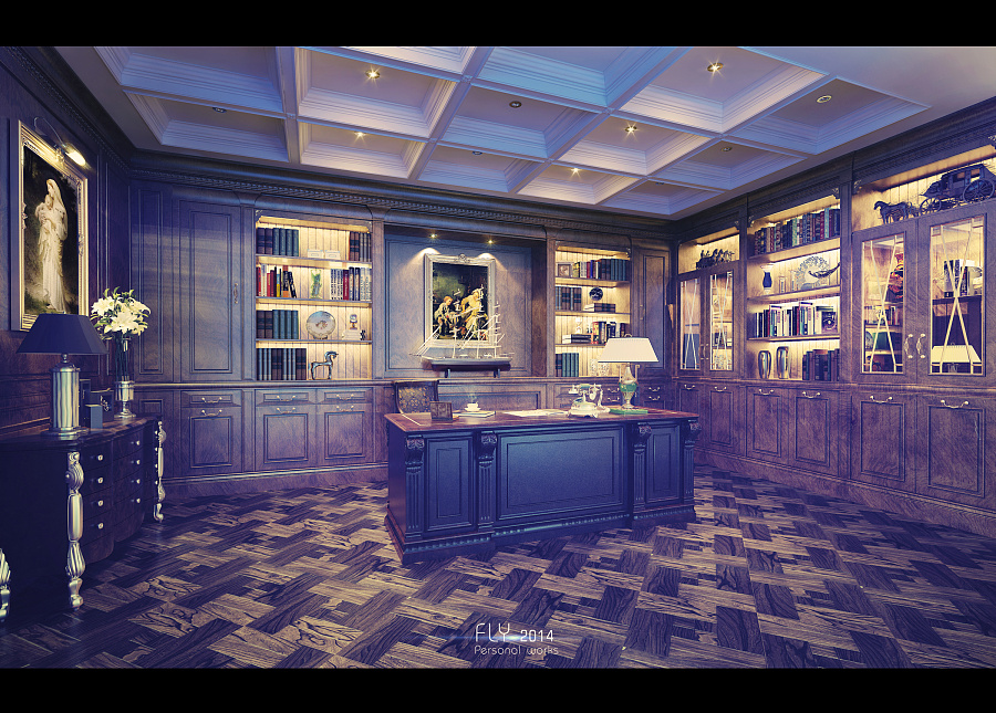 欧式书房|场景|三维|pxfpxd