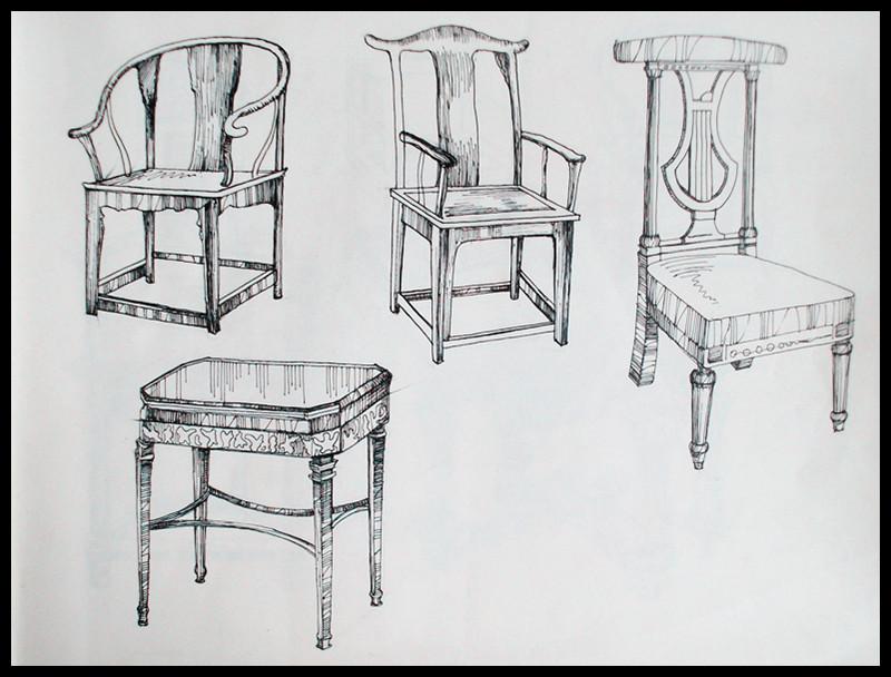 家具结构手绘线稿图