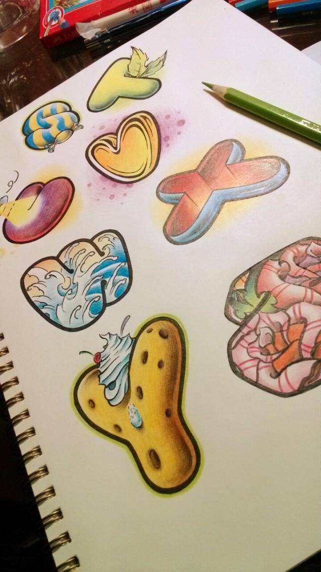纹身手稿——英文字母26个 商业插画 插画 2nu7lg