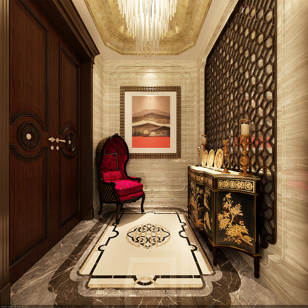 大连装修案例-红星海-新中式-300m05|空间|室内设计图片