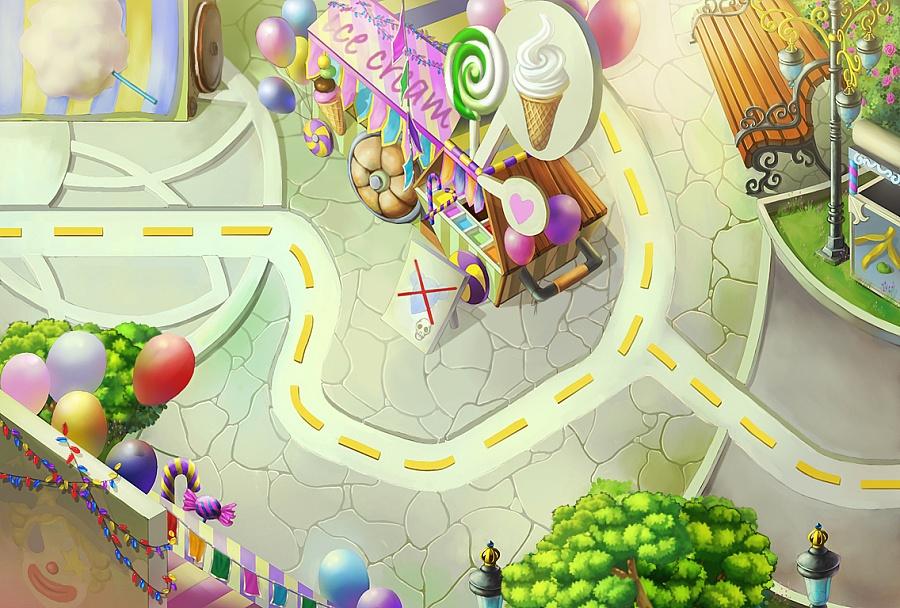 魔幻塔防手游《喵族勇士》——街心公园 游戏原画