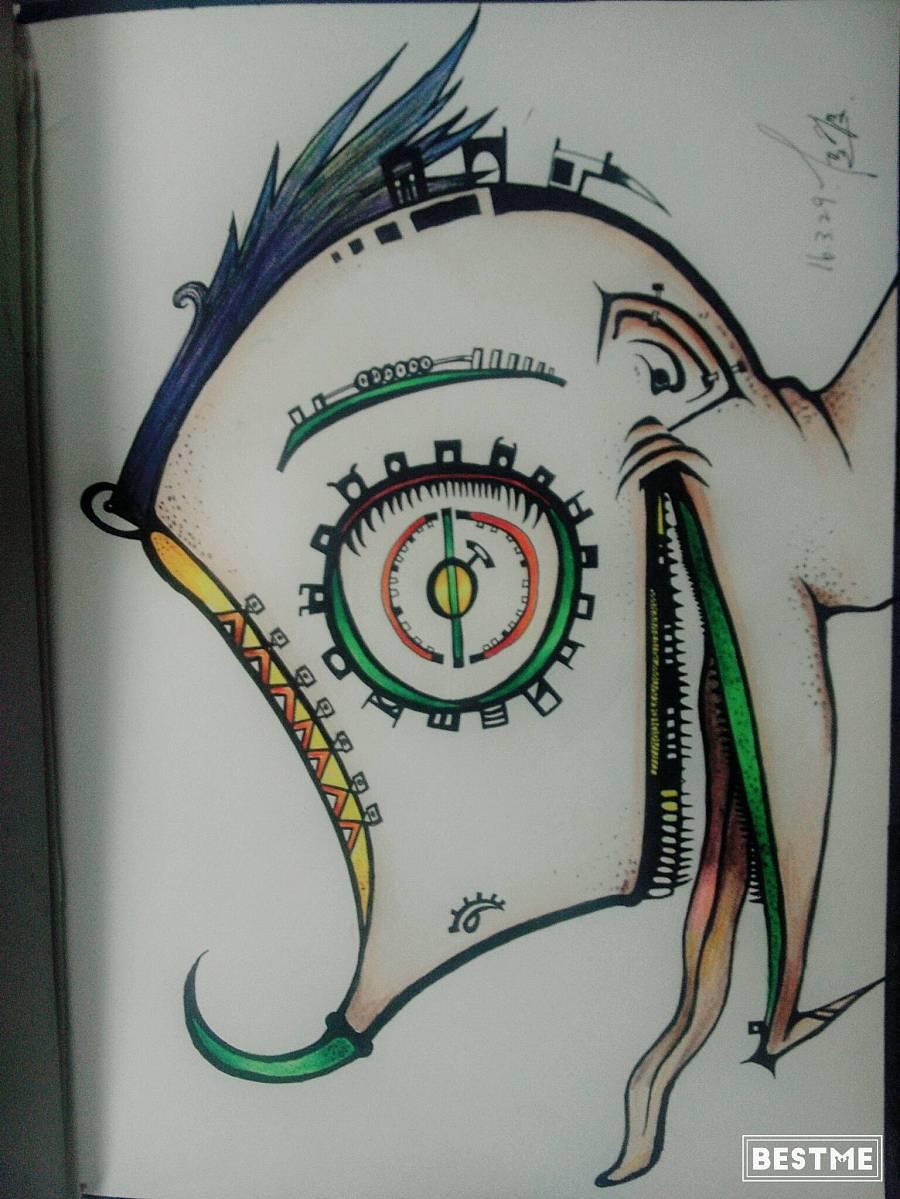 原创怪异手绘彩铅|涂鸦/潮流|插画|鸟的眼泪