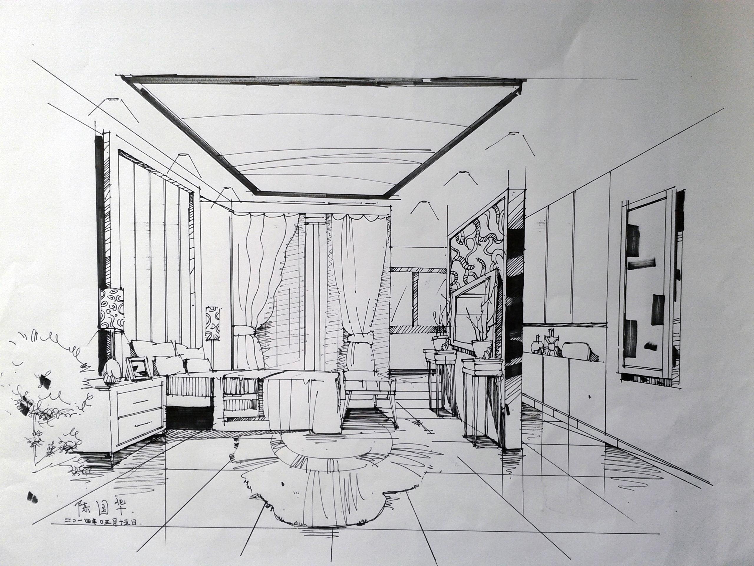 手绘练习|空间|室内设计|chenguohua - 原创作品图片