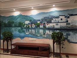 【天水一色 常州大象洋楼新中式家装壁画定制】