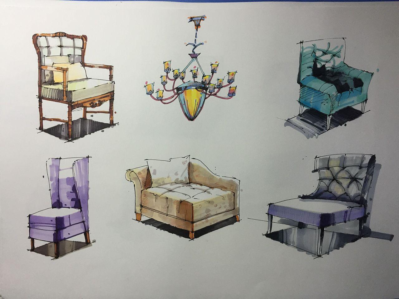 室内设计手绘单体
