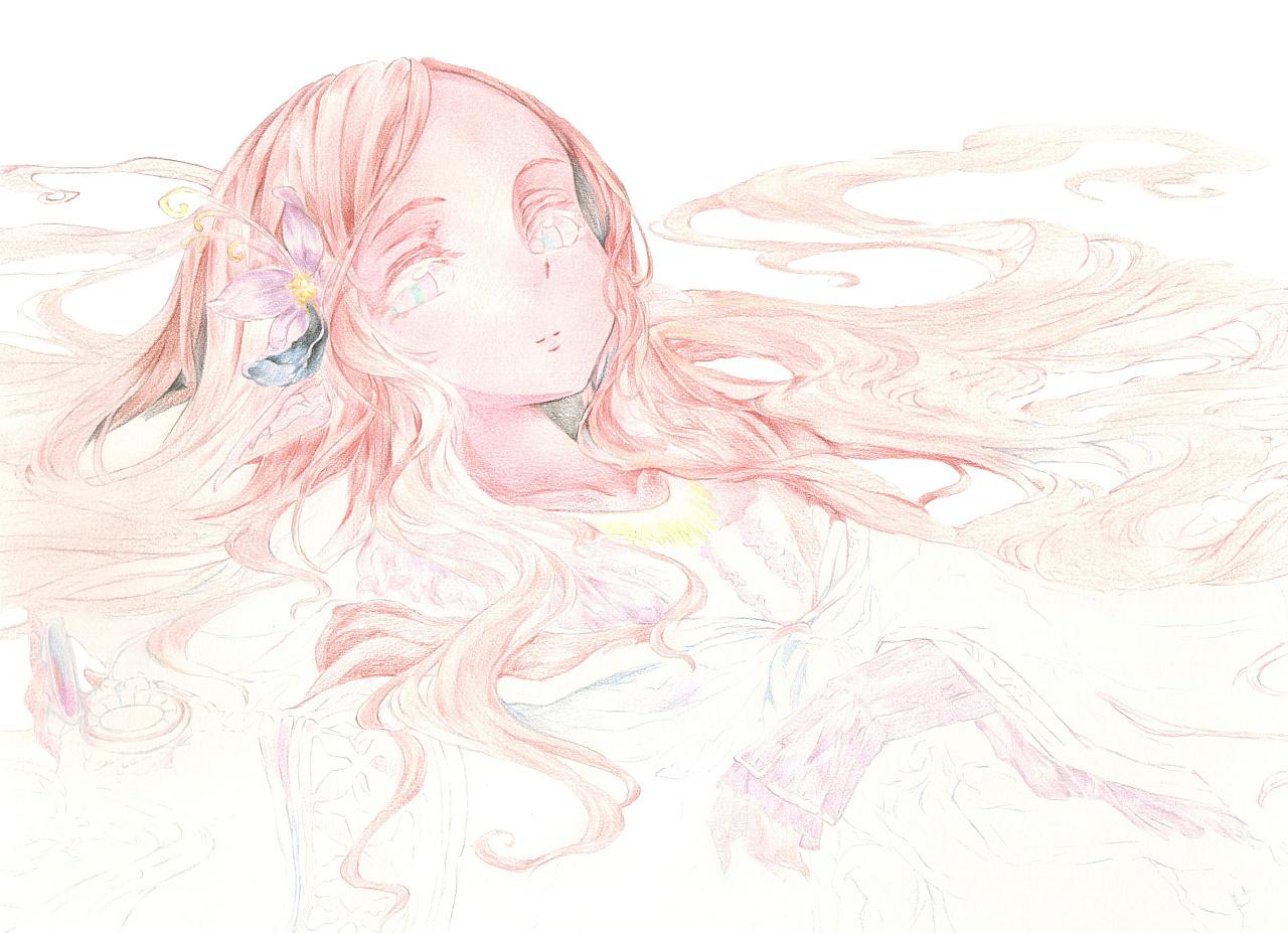 彩铅手绘动漫人物头发