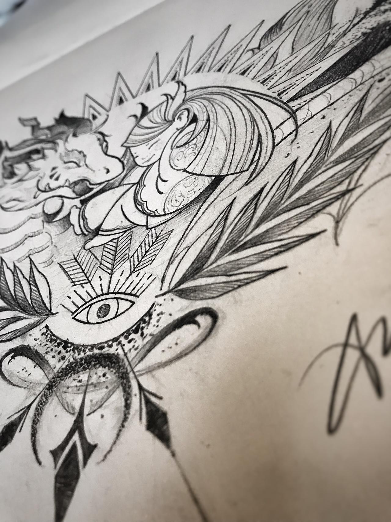 四爪彩色半甲龙纹身手稿图案_符割线图★北京延庆派艺纹身店★
